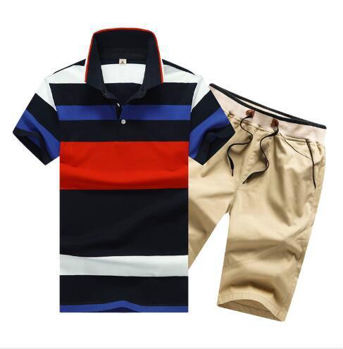20ss tasarımcı Yaz Erkek eşofman Kısa Kollu Tişört ve Şort Yeni Stil Yaka Pamuk Spor Suit Büyük Beden toptan