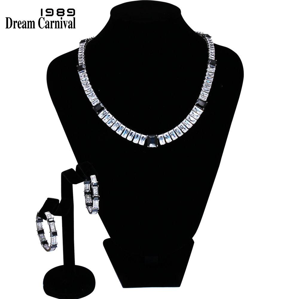 wholesale Marquise Cut Necklace and earrings Sparkling White CZ Rhodium color Bridal Jewelry Sets for Women 61447-04