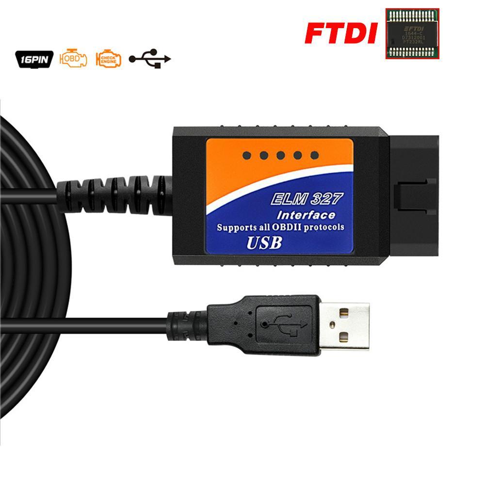 ELM327 USB OBD2 FTDI FT232RL Chip OBD 2 Scanner Automotive for PC EML 327 V1.5 ODB2 Interface Diagnostic Tool ELM 327 USB V 1.5
