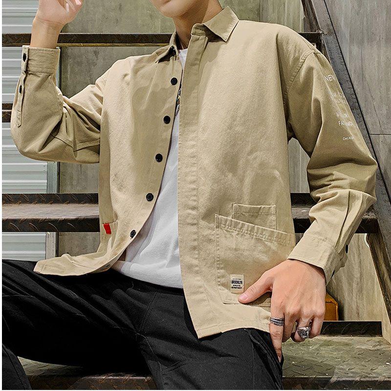 shirt dos homens de manga comprida camisas de homem de algodão moda camisa homens homens casual vestir camisas street wear camisa masculinang Harujuku