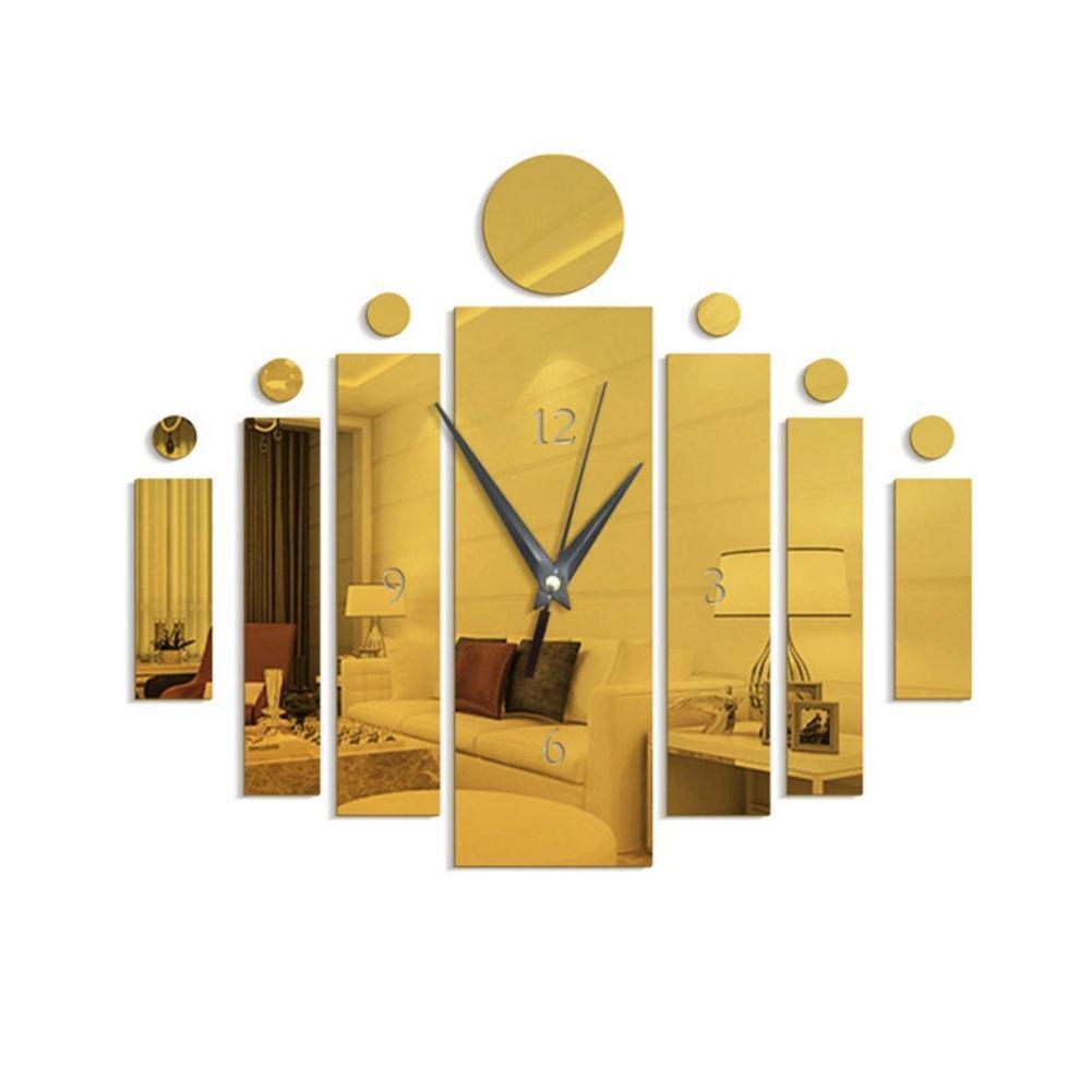 Estéreo espejo reloj de pared rectangular etiquetas engomadas DIY 3D Mute engomadas de la pared del reloj de la decoración del hogar El mejor precio