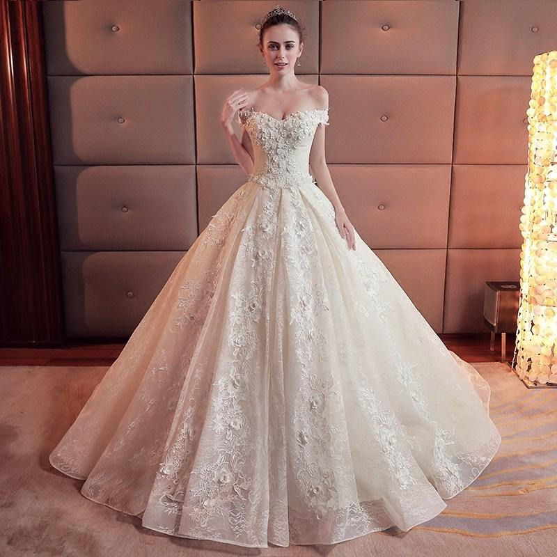 Beaded Lace Appliqued Strapless Ball Gown Wedding Dress - VQ