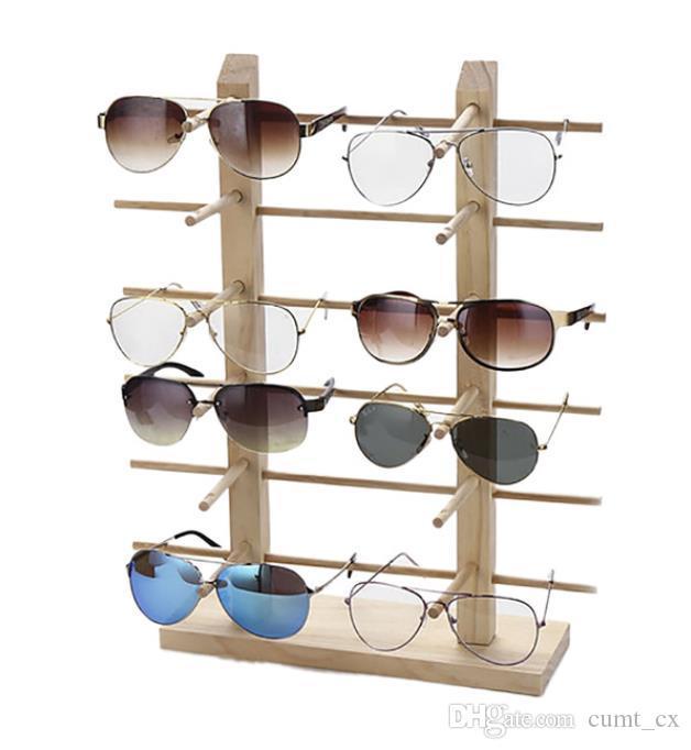 Multi camadas de madeira óculos de sol rack de prateleira óculos mostram suporte de jóias de suporte para multi pares vidros vitrine Dropshipping