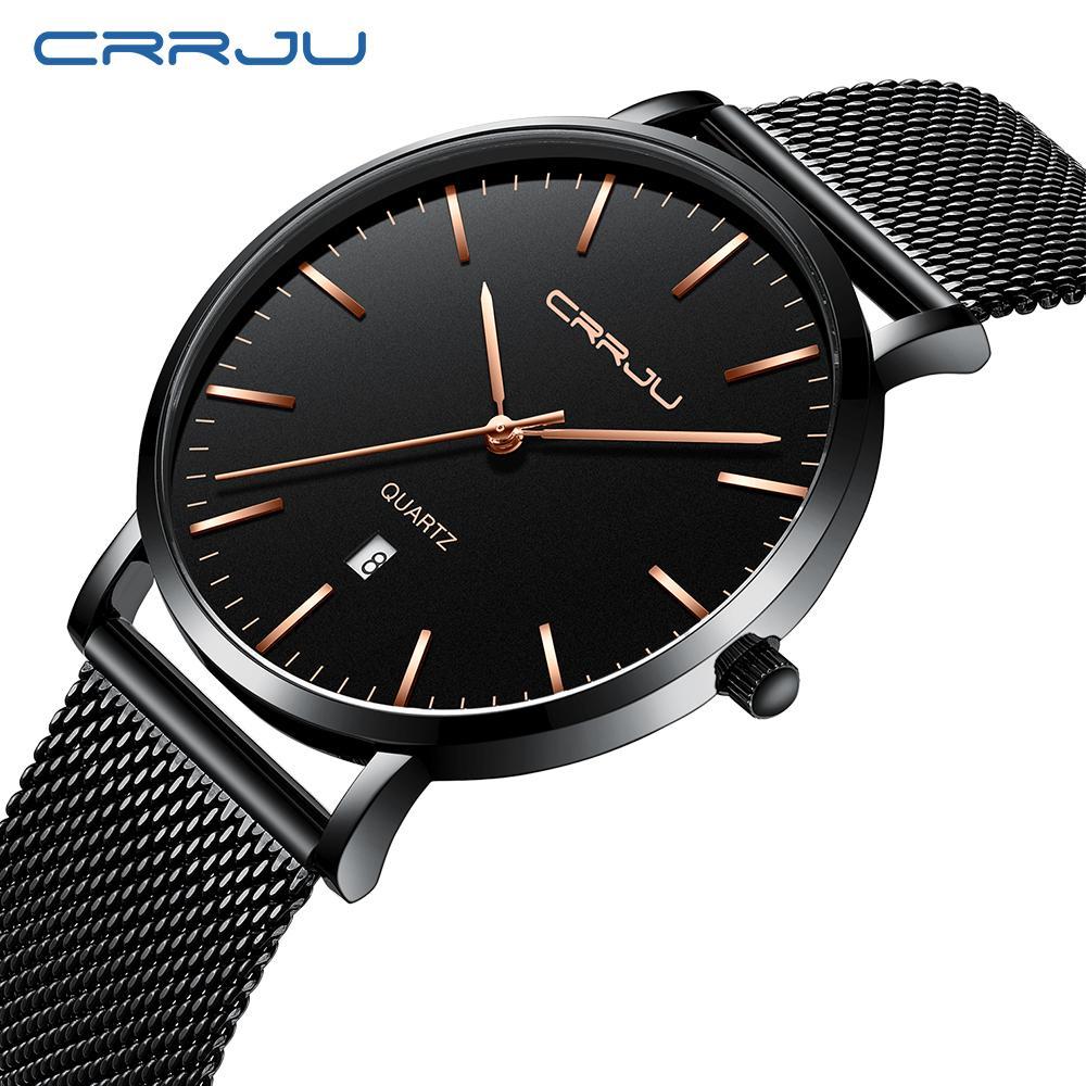 Relogio Masculino CRRJU Moda Uomo Orologi lusso superiore blu impermeabile orologi UltraThin casual orologio al quarzo orologio degli uomini di sport