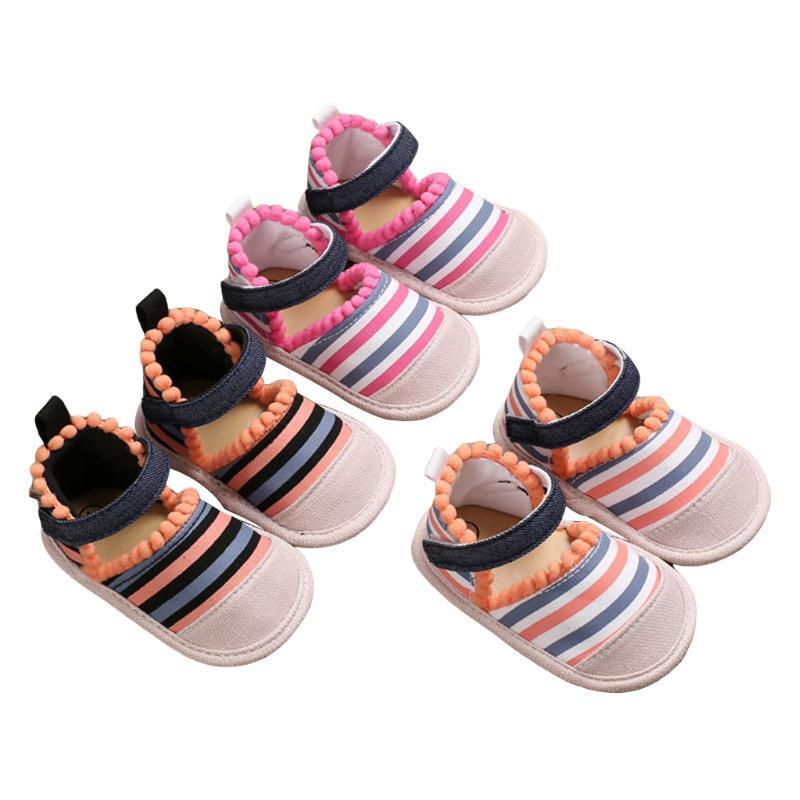 Yaz Bebek Kız Yumuşak Beşik Ayakkabı Prenses Tuval İlk Yürüteç Renkli Çizgili Tanga Sandalet