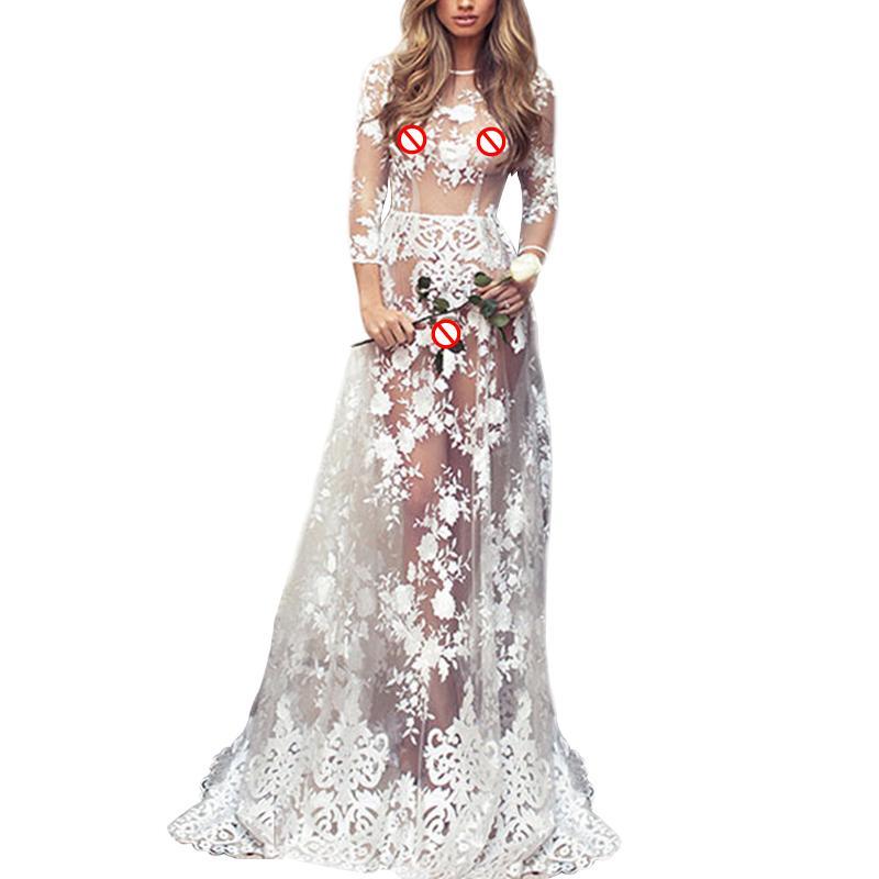 Лето Женщина Sexy Прозрачной Довольно длинный рукав O-образный вырез платье партии Формального Элегантное Кружево Длинной Макси платье Платье De Noiva