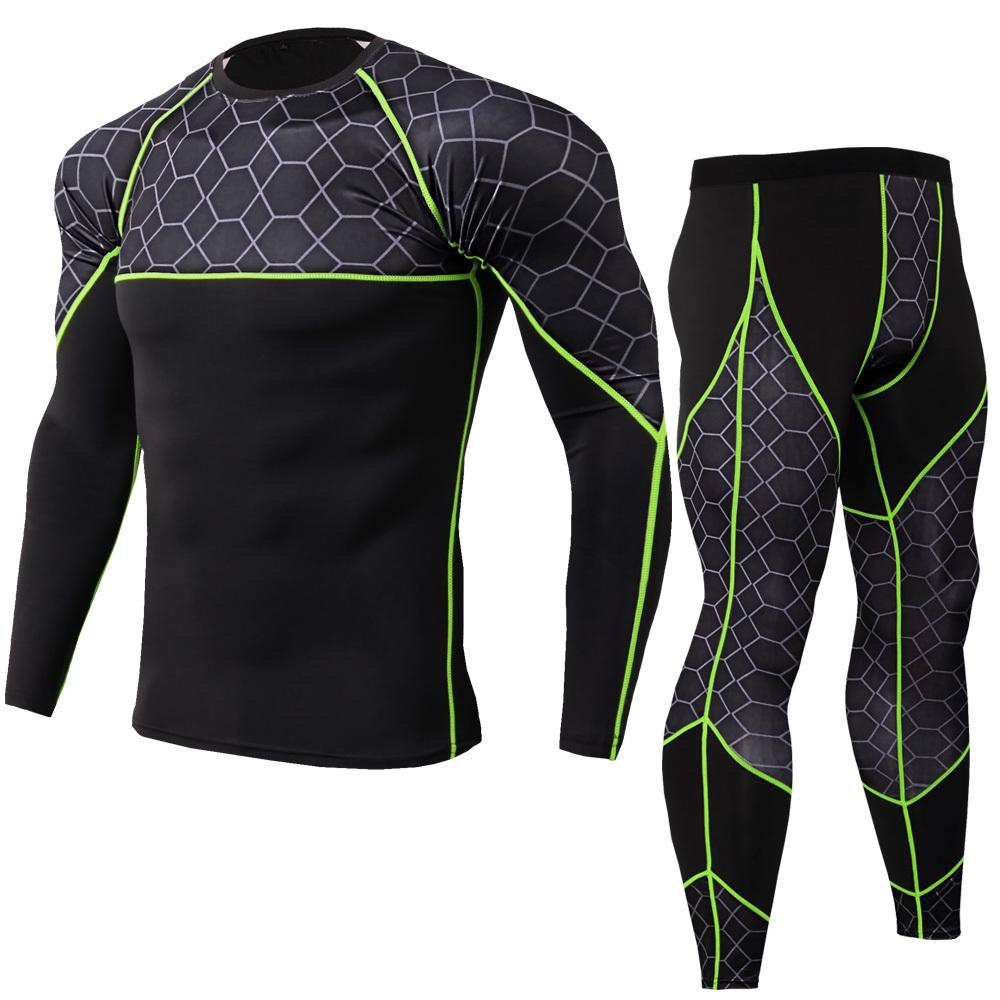 2019 Nouvelle Compression Hommes Costumes Sport À Séchage Rapide Running Ensembles Hommes T Shirt Pantalon Fitness Vêtements Gym Workout Jogging Costume Sport Q190521
