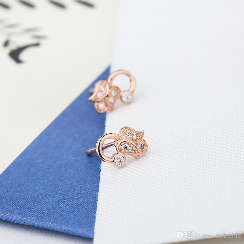 Carino monili fragili Ear Stud donne della ragazza 925 Sterling Silver Flower Zirconia Ear Climber orecchini minimalista di nozze