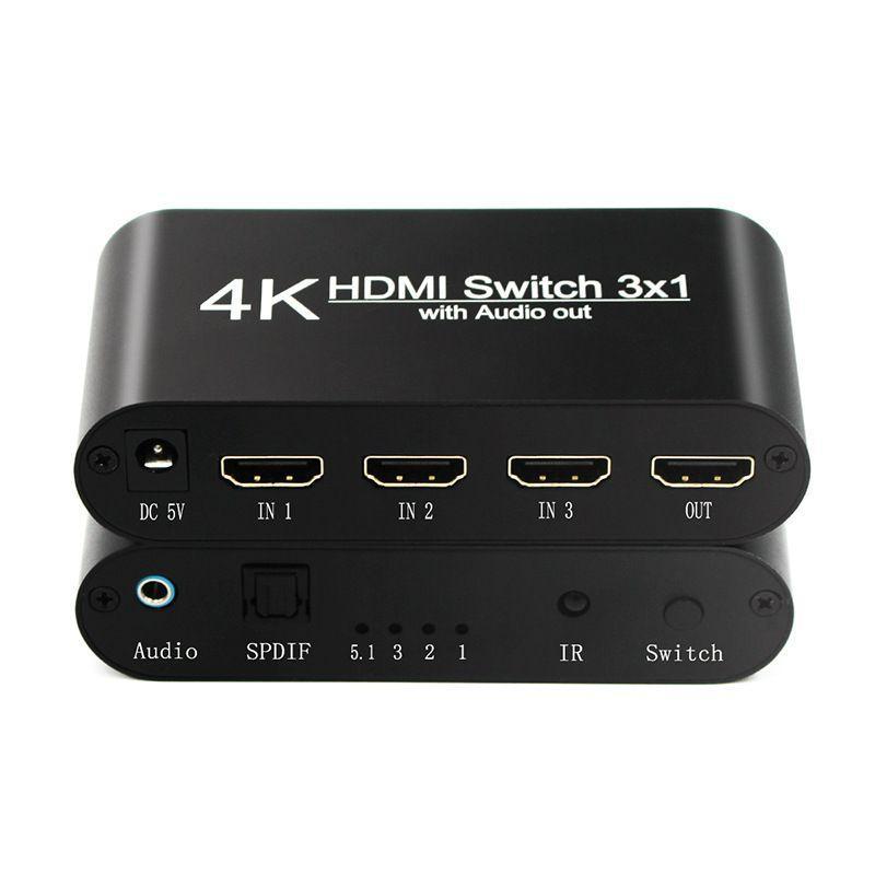 HDMI Switcher 3 em 1 Out HDR 4: 4: 4 Versão 2.0 4K 60Hz HDMI Audio Separator