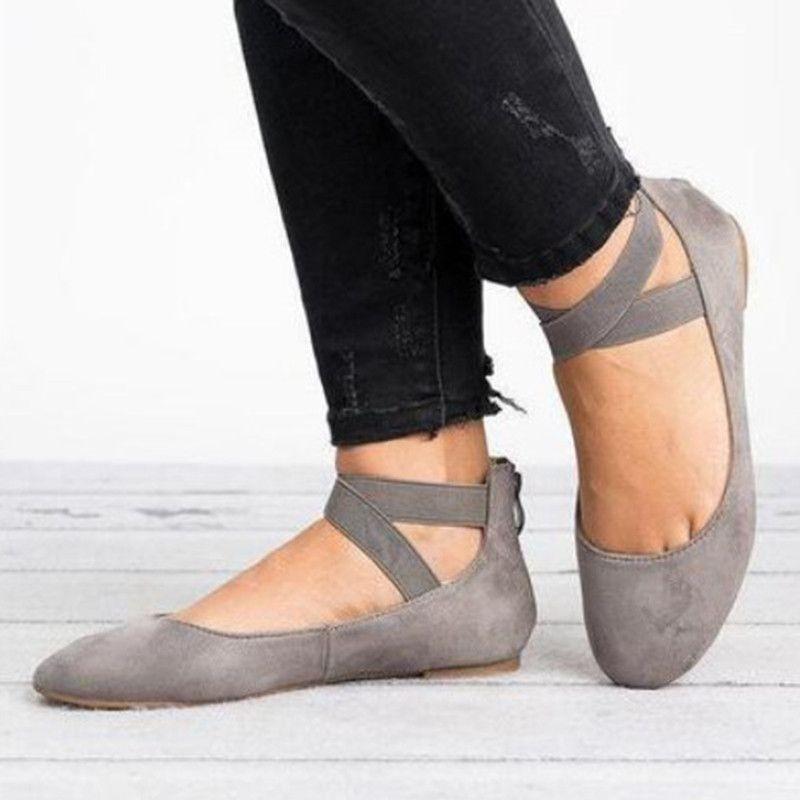 Compre Jrnnorv Mujeres Moda Clásica Bailarina Pisos Elásticos Cruzando Las Correas Del Tobillo Ballet Zapatos Planos Planos De La Yoga De Los Zapatos