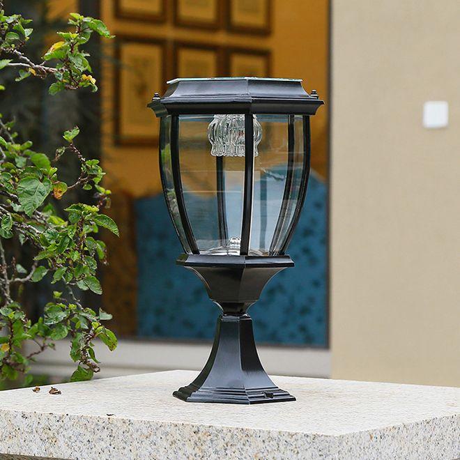 Energia solar LED Post Negro Luzes Paisagem Luzes de Jardim Doorway Coluna Iluminação LED Outdoor Gold Post Lamp para Villa Deck Park Yark