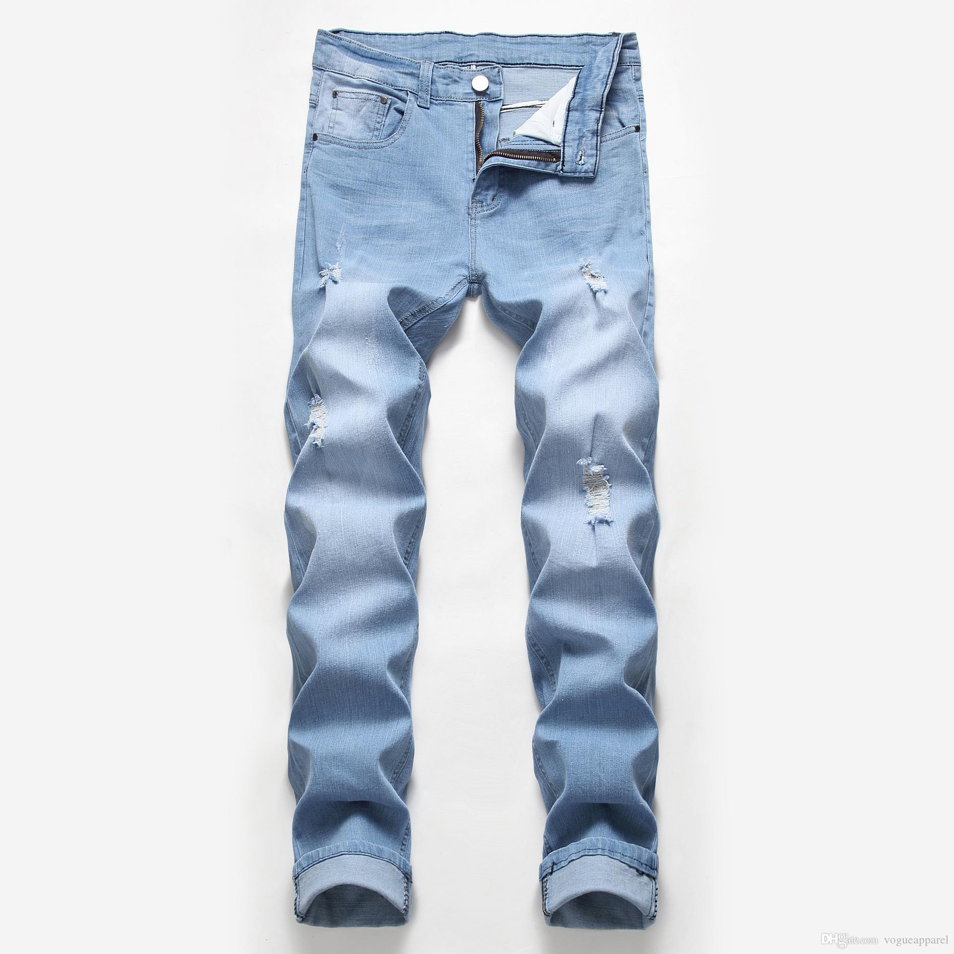 Fashion Brand Designer Skinny Jeans Slim Fit Motorcycle Biker Jeans Causal Denim Pants Streetwear Cool For Men Distressed Ripped Jeans