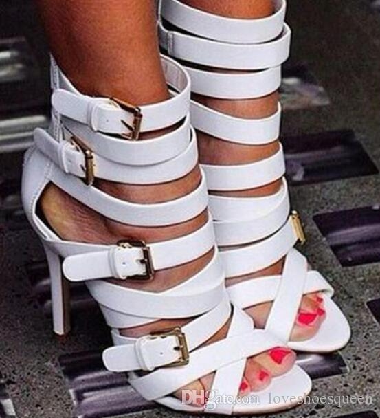Sandalias romanas de cuero blancas de moda para mujer Tobillo de verano Tacones altos Peep Toe Sandalias romanas Zapatos de mujer Hebilla Cremallera