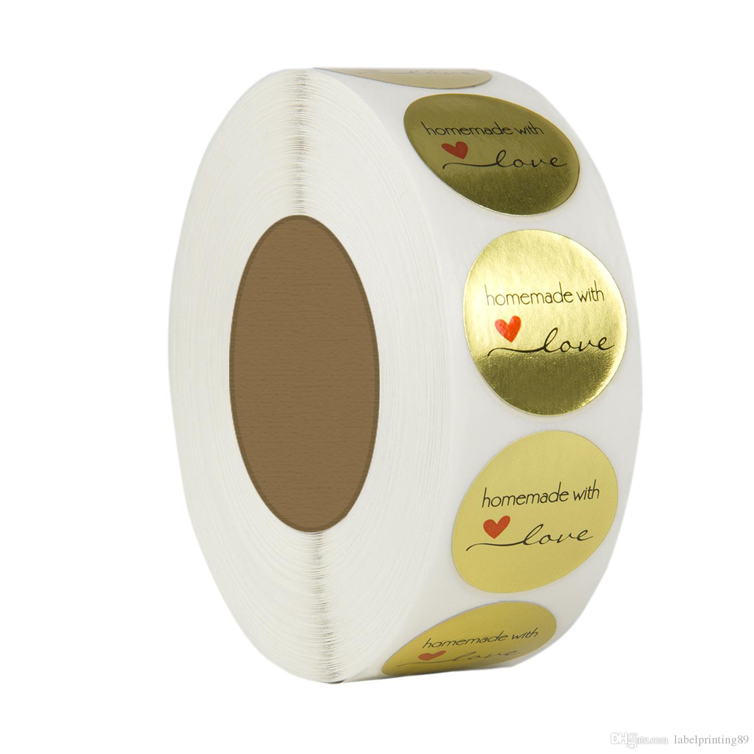 500pcs/roll 1 inch gold hand made with love DIY labels sticker baked decorated adhesive sticker in stock with best price
