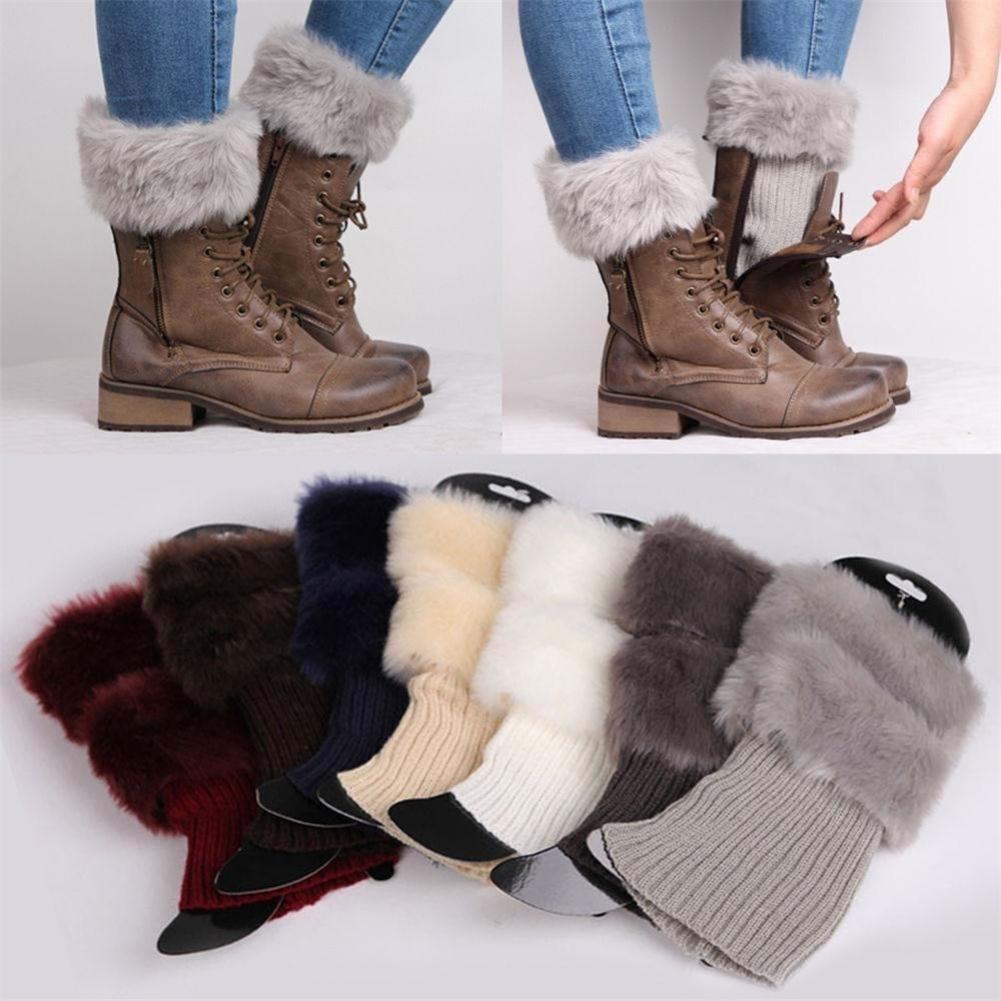 Осень Зима Повседневная Женская Вязаная Обувь Манжеты Мех Вязать Теплые Гетры Загрузки Носки Гетры Обувь Набор Рождественский Подарок