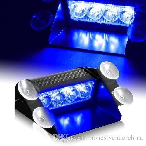 Blue 4 LED Car Emergency Warning Dashboard Dash Visor Police Strobe Lights 4LED Lamp