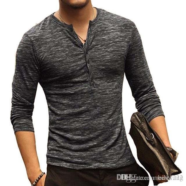Мужская рубашка Henley с длинным рукавом Стильная облегающая футболка с воротником на пуговицах Повседневная футболка Мужчины Пиджаки Популярная футболка