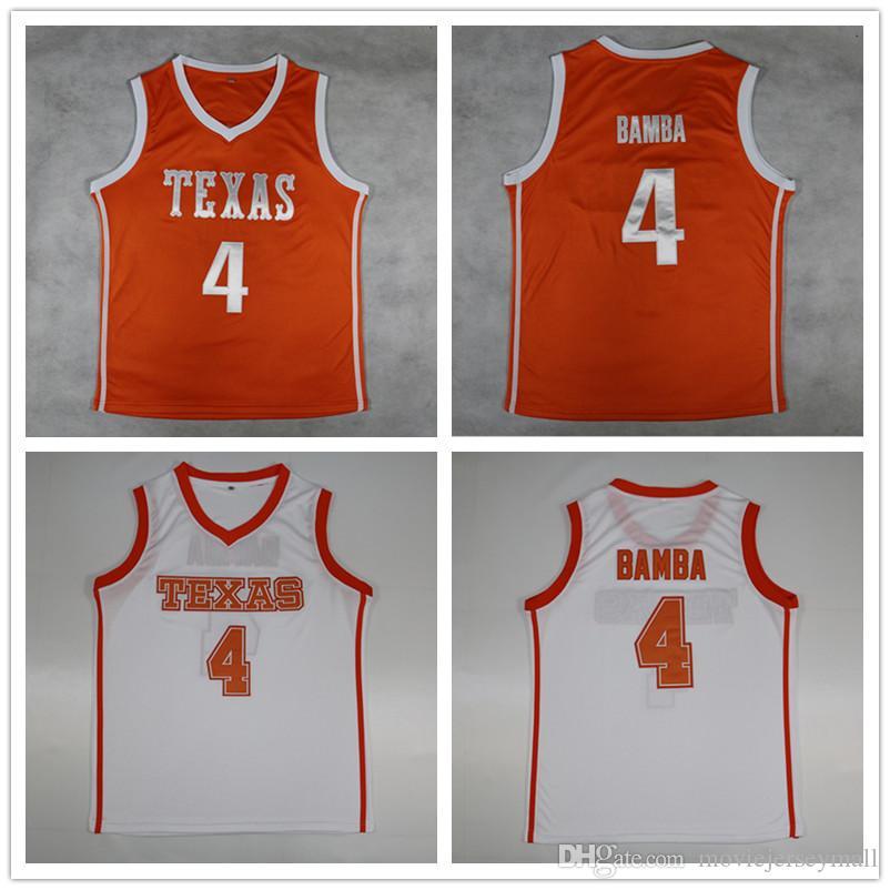 Texas Longhorns # 4 Mohamed Bamba College Basketball orange blanc Cousu # 4 Mohamed Bamba Maillot rétro NCAA Mo