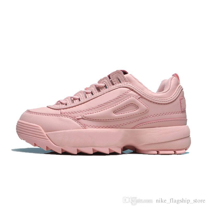 Acheter FILA Chaussures Casual Qualité Supérieure Designer Disruptors Triple Blanc Noir Noir Rose Jaune Femmes Hommes Section Spéciale Baskets De
