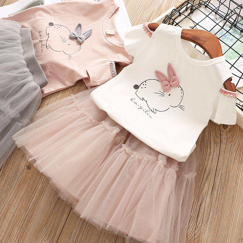 Summer 2019 Girls Clothing Set Printed Bunny Dress For Girls Toddler T-shirt+tutu Skirt 2Pcs Kids Costume Fashion Party Wedding
