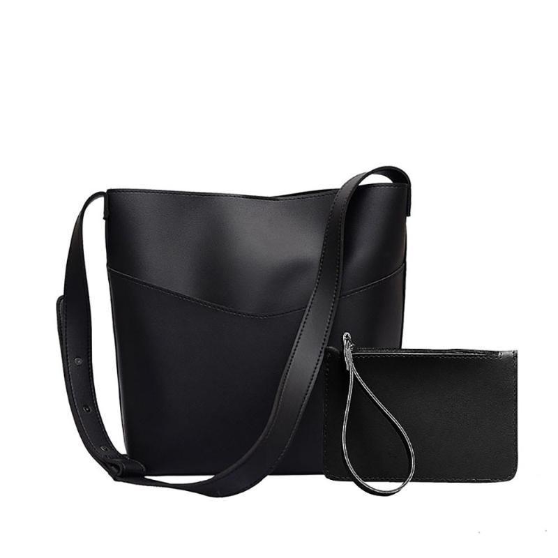 Kadınlar Moda her maç kova çanta basit stili pu deri bir omuz kadın çantası kadın çantası gündelik Messenger * 1