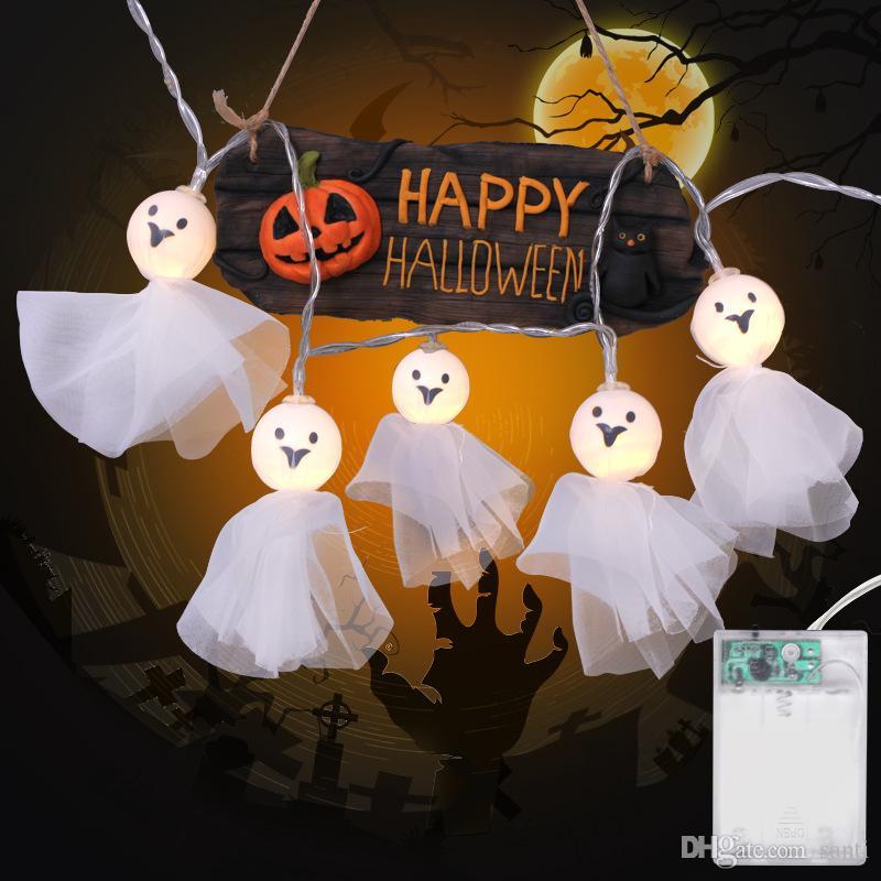 Halloween-Baby-Gesichter Puppen Irrlichter Schnur-Lampen-Feiertags-Party-Dekoration-Schnur-Licht-Batterie betrieben Halloween-Dekorationen JK1909KD