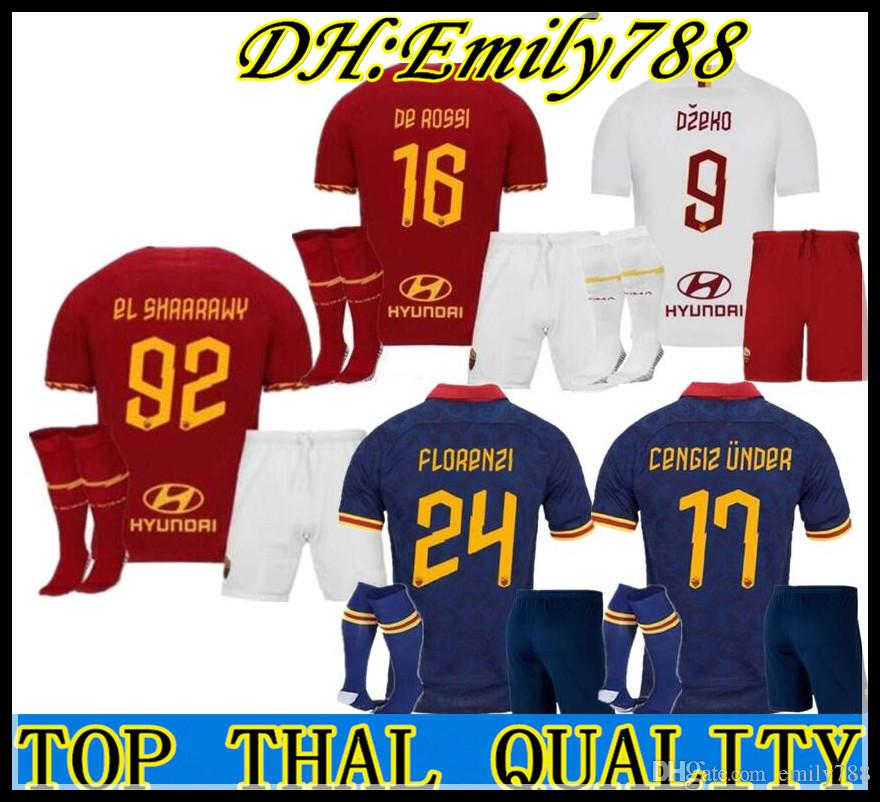 2019 2020 roma Accueil Soccer Jersey kits 19 20 troisième Maillot de football Kit DZEKO totti Rome Camisetas De Rossi PEROTTI uniformes Zaniolo S-2XL