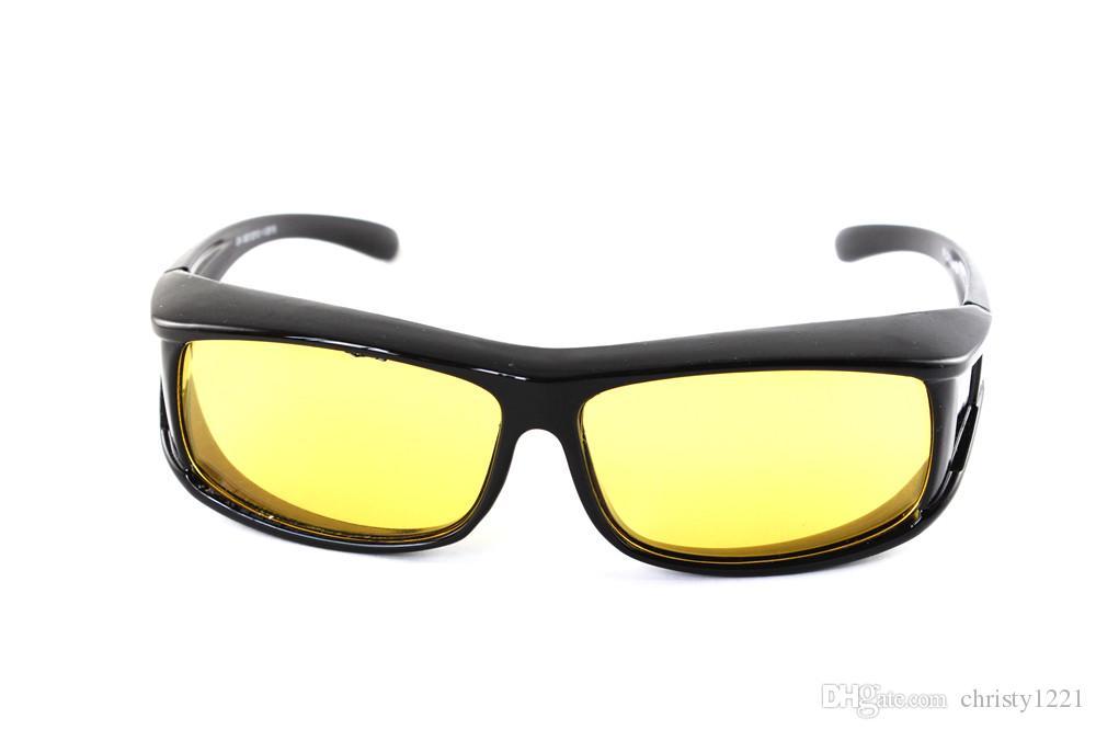 GlassesAnti Kamaşma 10pcs 1001 civarında HD Gece Görüş Koyu Sürüş Koruyucu Gözlükler Sürüş Güneş Erkekler Sarı Lens Üzeri Wrap