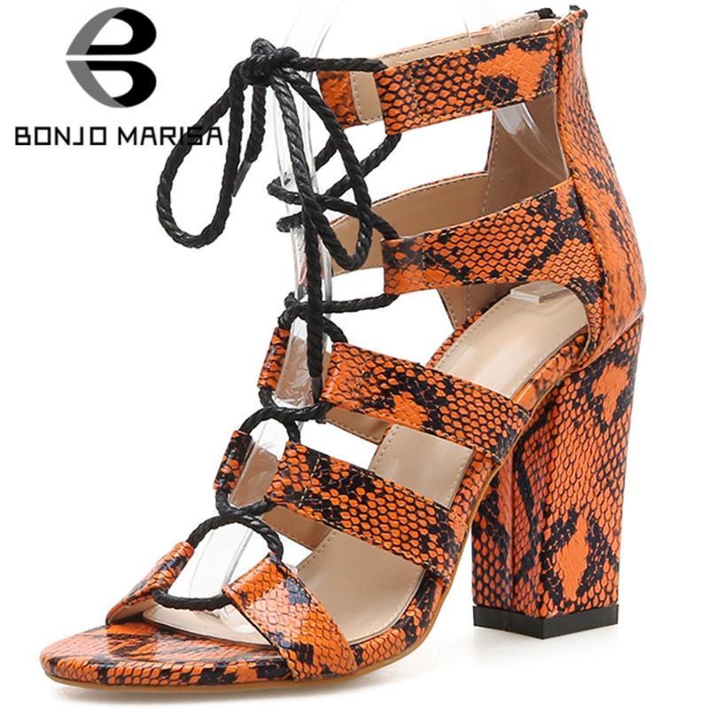 BONJOMARISA New Fashion Ins Animal Print Rome High Block Heels Gladiator Sandals Women Fashion Summer Party Shoes Woman
