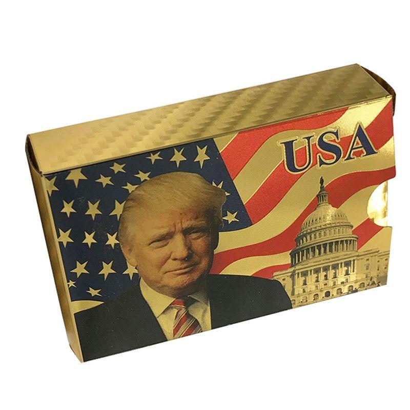 دونالد ترامب البلاستيك بطاقات اللعب الرئيس الأمريكي ترامب الذهب والفضة الجدة بوكر مجموعة التنين USA AU EURO البنكنوت بطاقة مقاوم للماء مع صندوق
