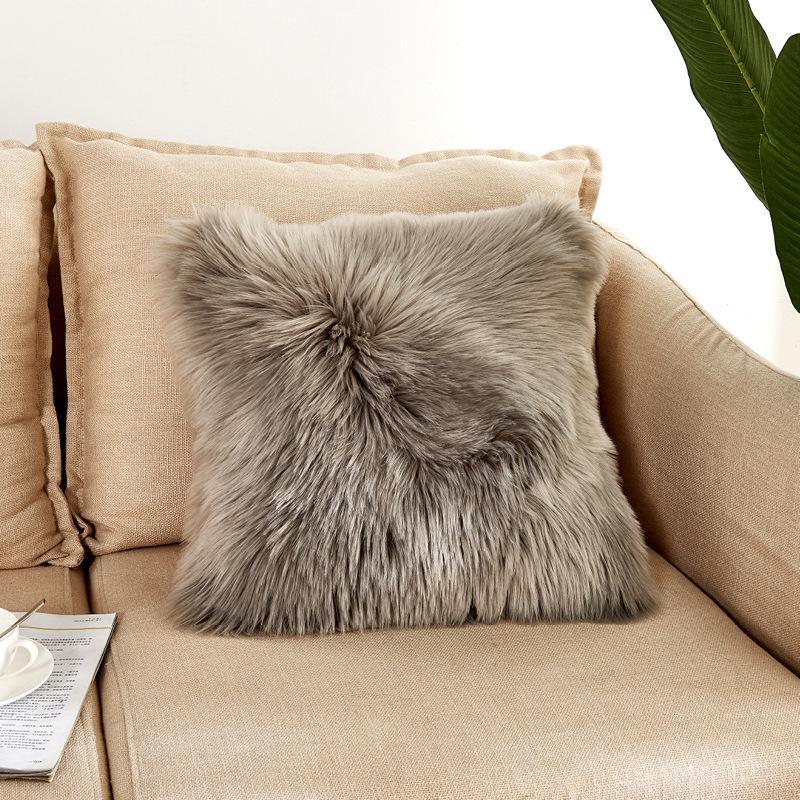 Lana artificiale pelliccia di pecora Cuscino Peloso Faux Plain Fluffy soft Getta federa lavabile Piazza Solid federa CJ191225