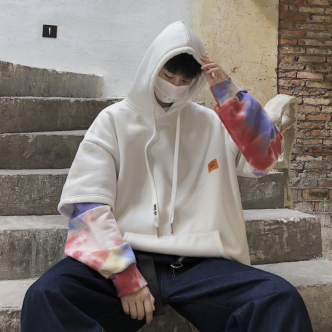 Sudaderas con capucha para hombre Sudaderas 2021 Algodón Casual Ropa Capuchacha Pullover Impresión Empalme Estilo de gran tamaño Sudadera Sleed Streetwear Abrigos