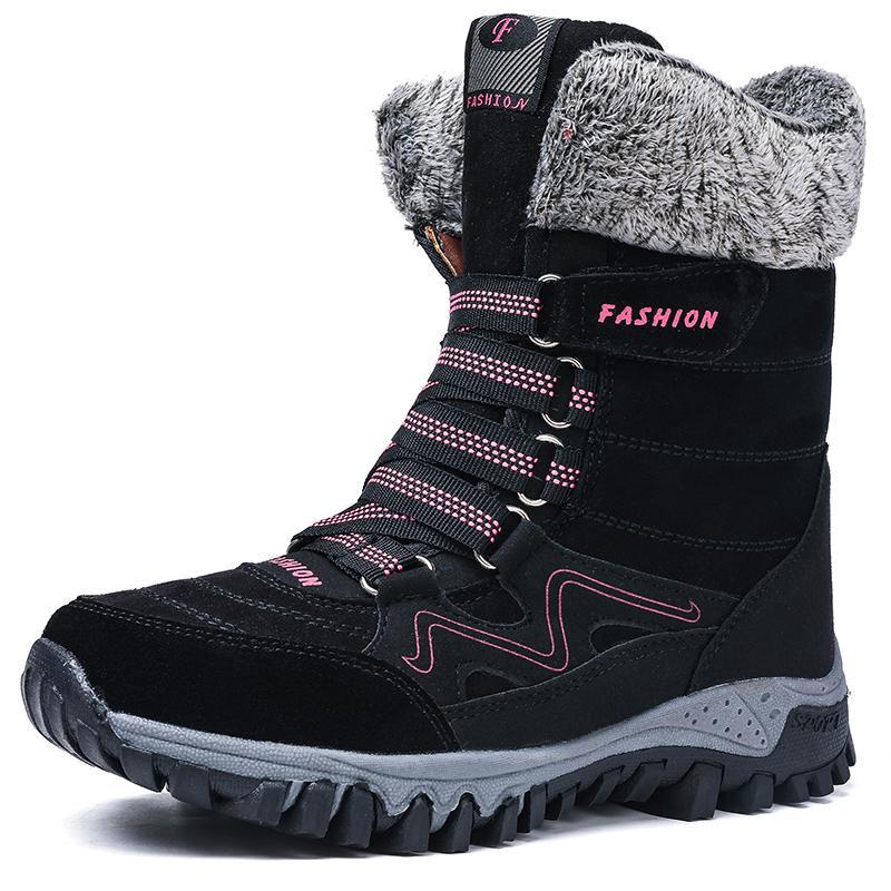Сапоги зимних ботинок женщины теплых меха снега сапоги женщины хлопок обувь Женские высокие Лучшие ботильоны износостойкого скольжение Бот Feminina 201020