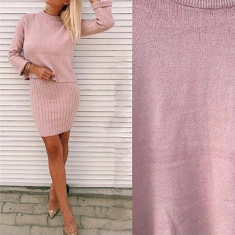 Kadın Kış Zarif Kazak Mini Elbise 2 Parça Setleri 2018 Sonbahar Kadın Moda Giyim Bayanlar Kaşmir Kazak Dipleri Suit