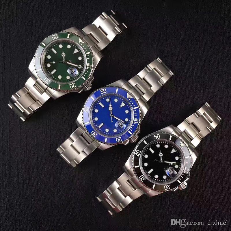 nuevos 2020 top mens bisel de cerámica relojes de acero inoxidable reloj verde movimiento mecánico automático original de Gliding PULSERA 5ATM Swim los relojes de la