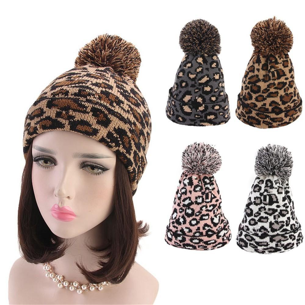 Moda Kadınlar Leopard Sahte Kürk Topu Kış Sıcak Tığ Örme Şapka Cap Beanie İçin Kadınlar Şapka Gorras