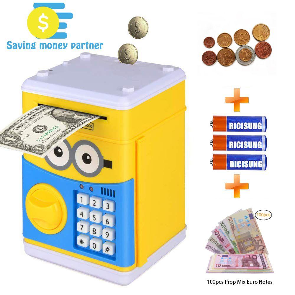 Мультфильм Электронный Piggy Bank, ATM Пароль Money Bank Наличный монет Can Auto Scroll Бумажные деньги для детей Рождественский подарок