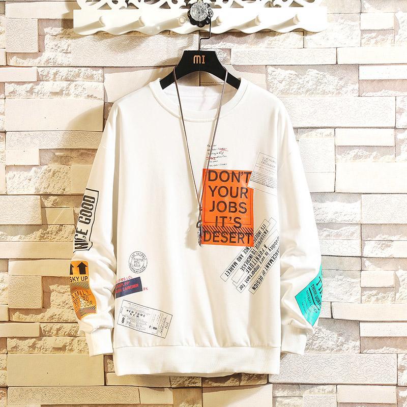 Dropshipping Корейского Harajuku Мужчины Swearshirts Hip Hop Негабаритные Люди Толстовка 2019 Осень Хлопка Теплые черные Толстовки V191028