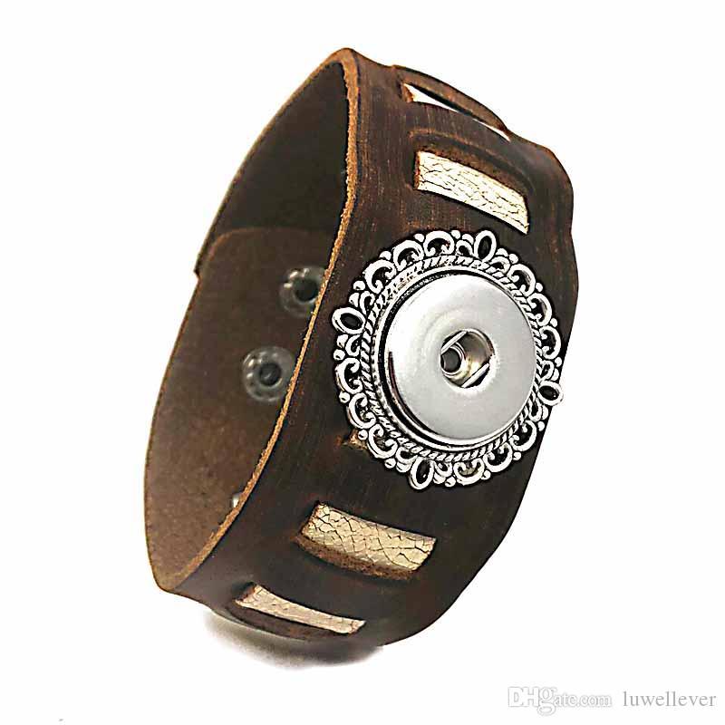 Рок-панк 146 действительно натуральная кожа ретро мода браслет Браслет Fit 18 мм Оснастки кнопка Шарм ювелирные изделия для женщин подростков мужчины подарок