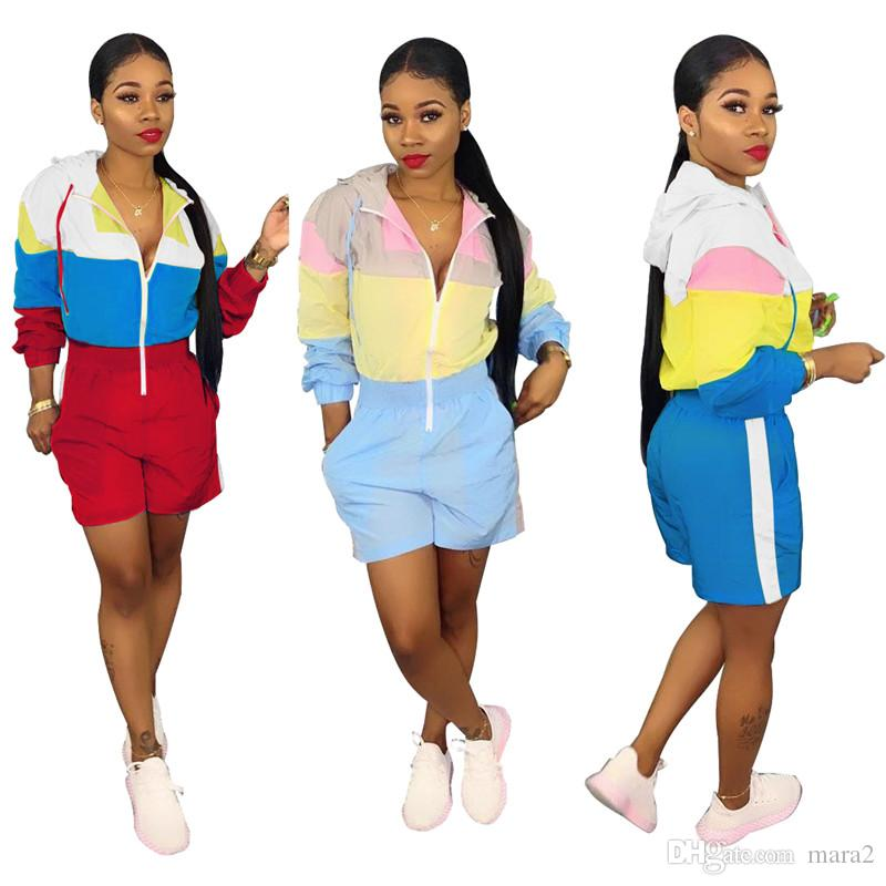 Women's Jumpsuits & Rompers Loose Zipper Hooded long sleeve shorts above knee contrast color casual panelled summer clothes plus size 365