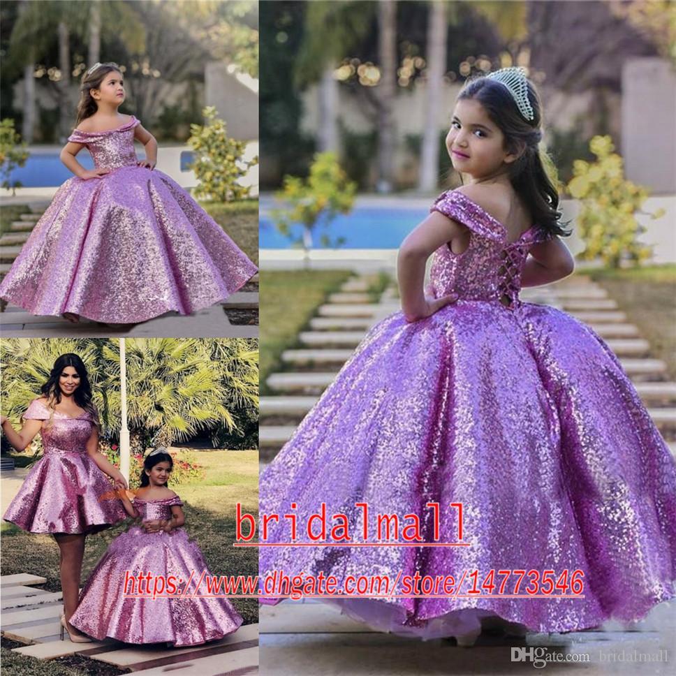 Violet paillettes paillettes paillettes robes de pageant pour filles princesse arpanière fleur girls robes corset back enfants billes