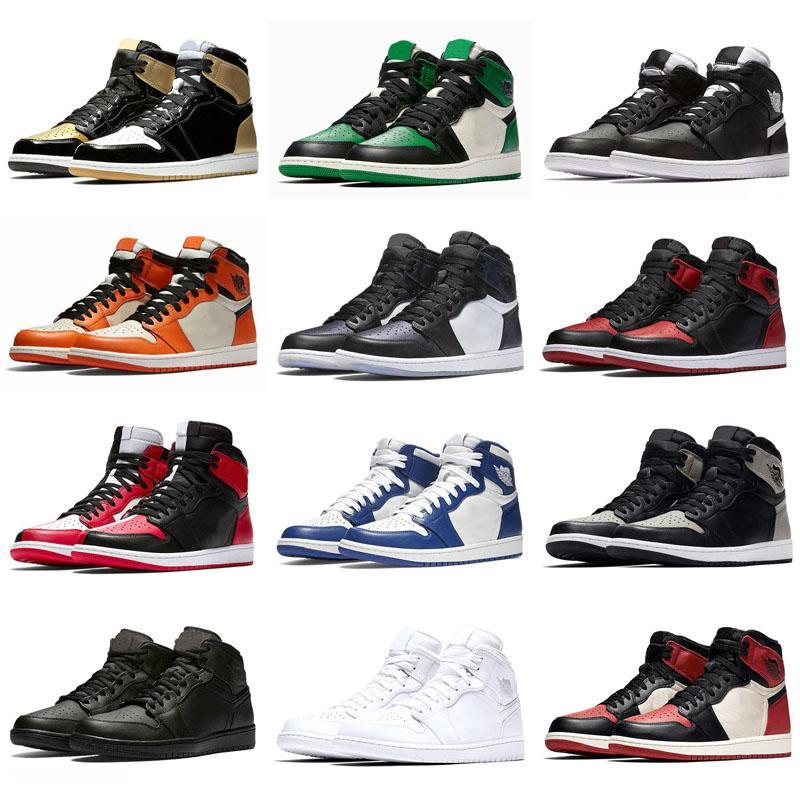 2020 nuevo listado para hombre 1s top zapatos Corte de pino verde púrpura Chicago OG Jumpman 1 Juego Royal Blue Boots tamaño del tablero trasero 5,5-13