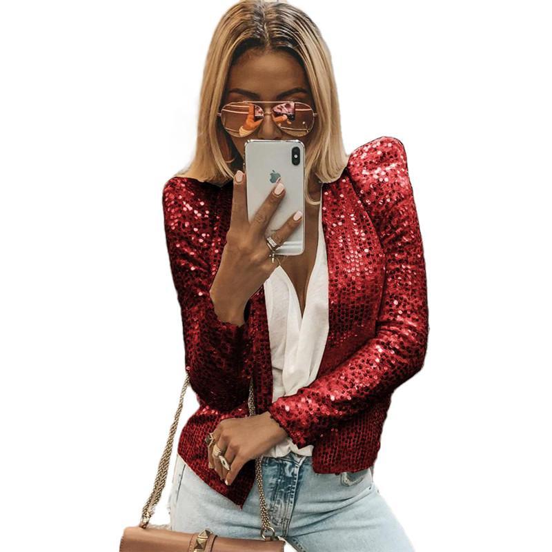 Women Sequin Long Sleeve Blazer Suit Casual Jacket Coat Tops Outwear Cardigan UK