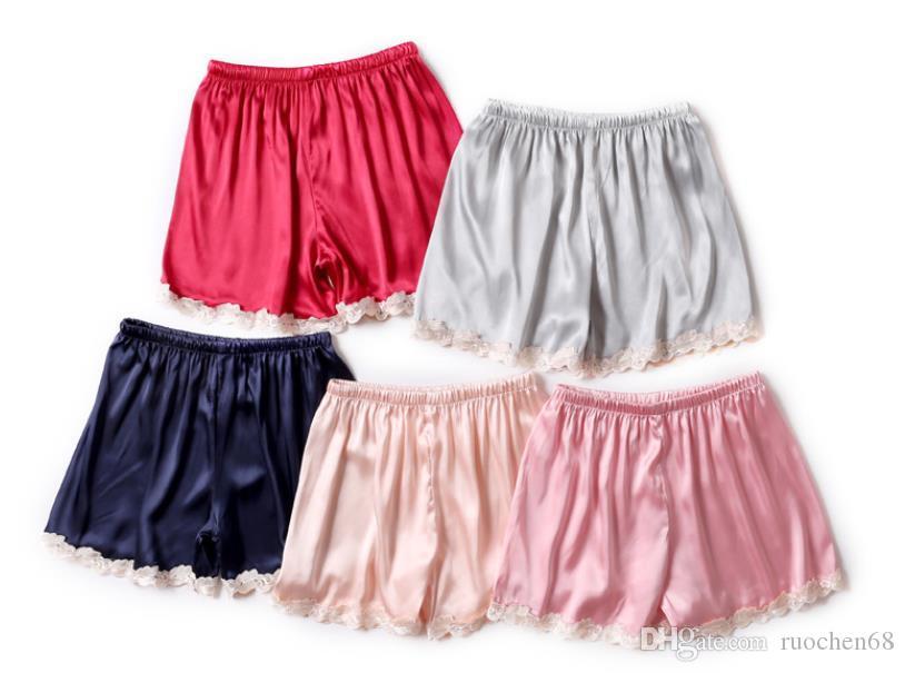 Nova mulher verão à prova de rendas calças de segurança de cetim calças de pijama de renda calças senhora ajama calças femininas sono bottoma