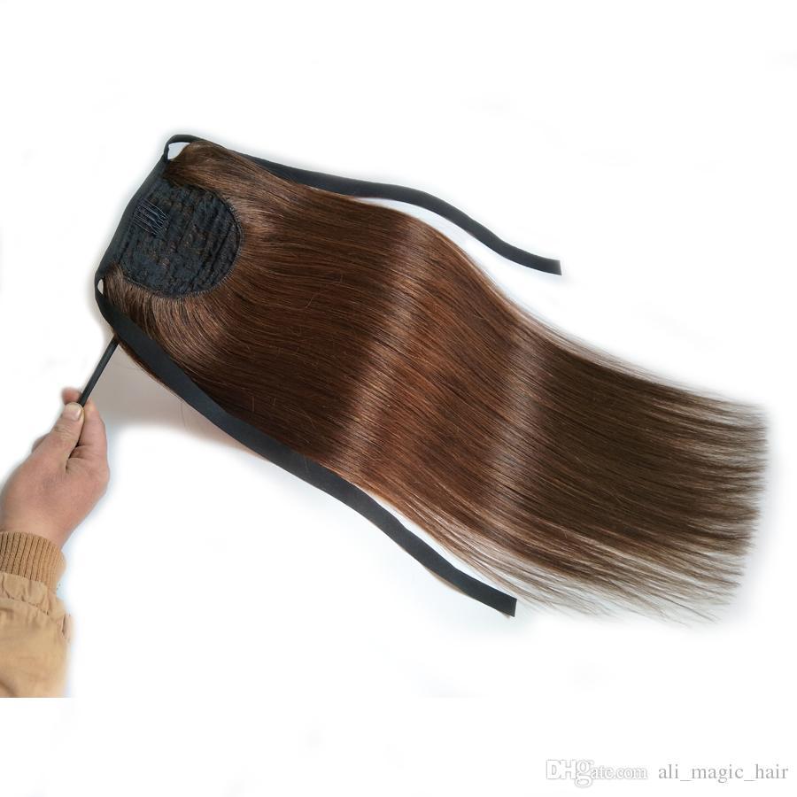 """Pferdeschwanzclip in der Haarverlängerung Maschine hergestellt Remy Straight Europäische menschliche Haar Pferdeschwanz Schokolade braun 50g 70g 100g 14 """"bis 24"""""""