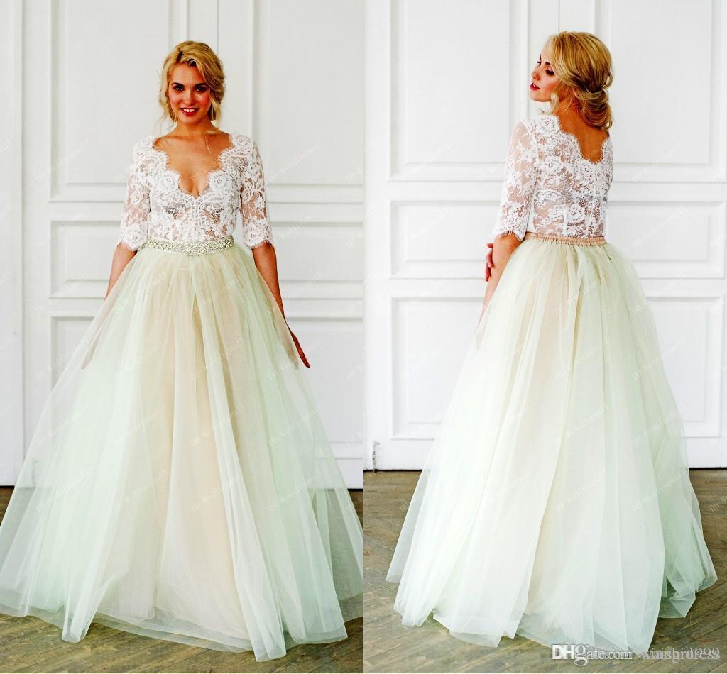 Waishidress dantel Kristaller boncuk Bohemyalı Gelinlik Yarı Kollu V yaka Gelinlikler Tül Vintaj A-line Gelin elbise ile