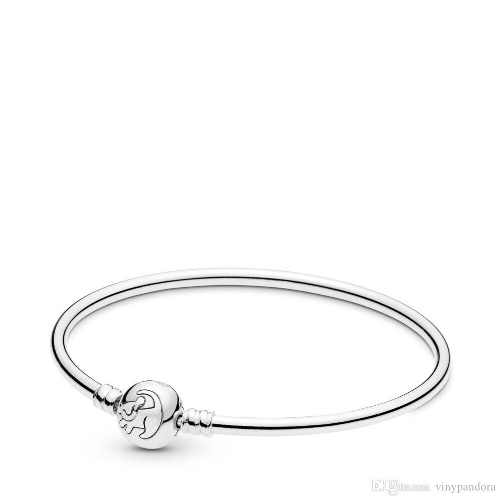 Bracelet jonc roi du lion en argent sterling 925 convient aux bracelets Pandora européens Breloques et perles