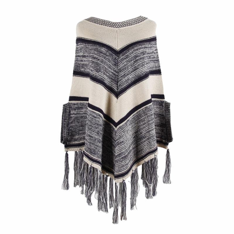 2019 Mulher da camisola Outono roupas de primavera malha listrada Cloak Plus Size capuz Tassel Camisolas