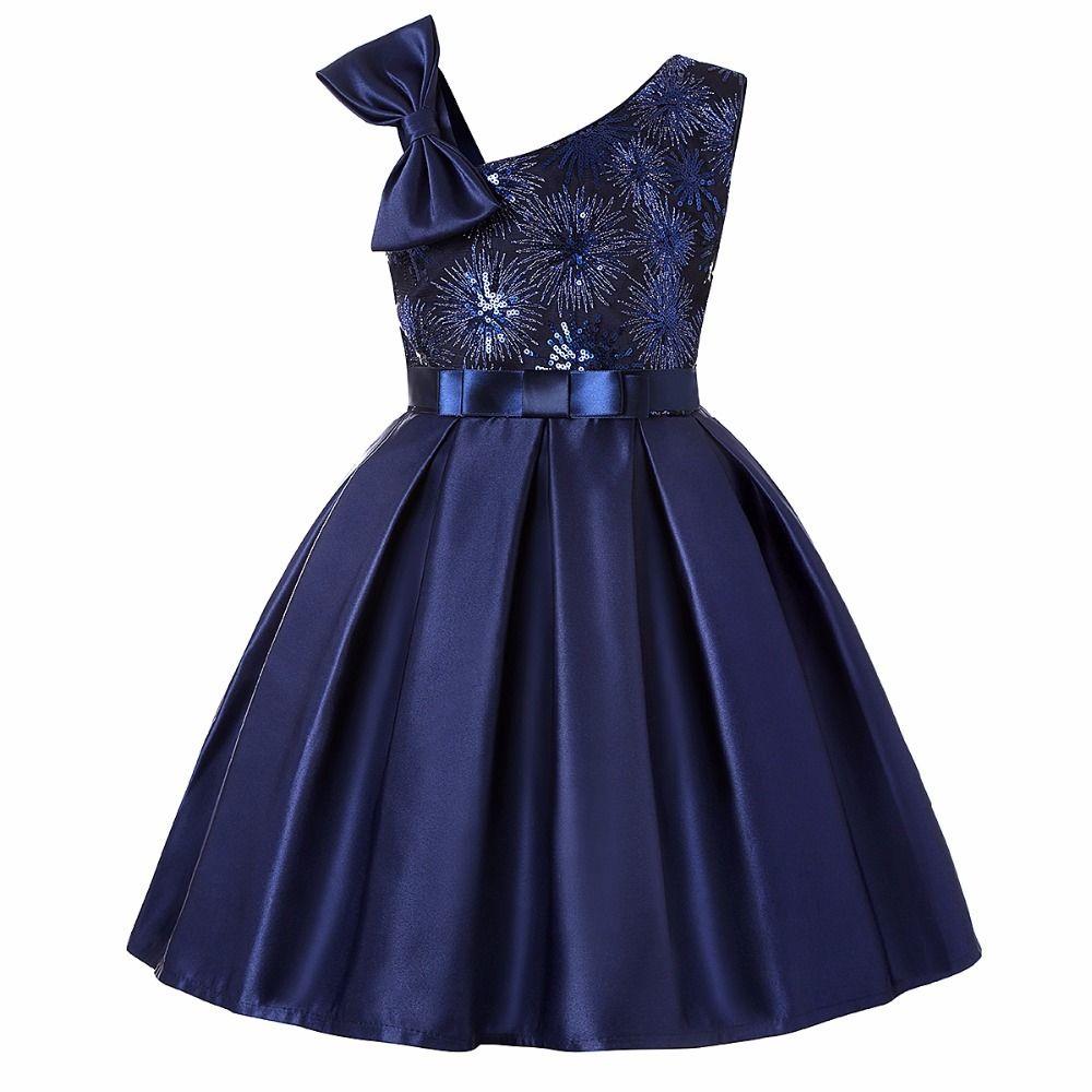 Dark Blue Enfants Tutu anniversaire Princesse robe de soirée pour les filles bébé dentelle Bow enfants robe élégante pour Bébé Fille Filles