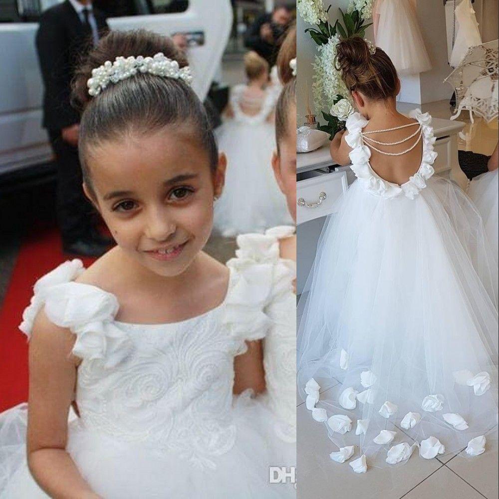 Nova baratos Princesa árabe Flor Meninas Vestidos de Birthday Girl Casamentos mangas Lace Tulle Flores Ruffle Puffy Comunhão Pageant Vestidos